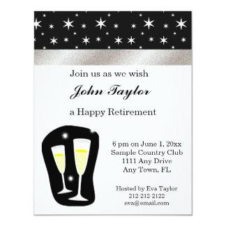 Convite de festas preto & branco da aposentadoria