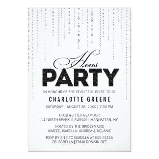 Convite de festas preto & branco das galinhas do