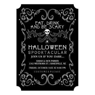 Convite de festas preto & branco do Dia das Bruxas