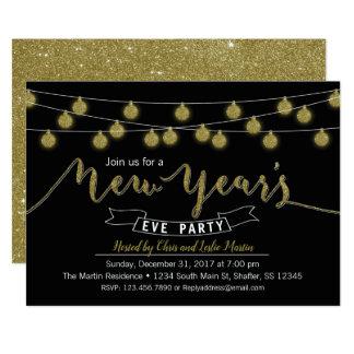 Convite de festas preto da véspera de Ano Novo do