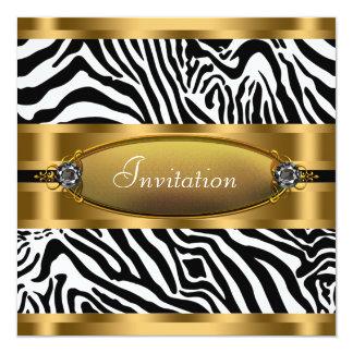 Convite de festas preto da zebra do ouro convite quadrado 13.35 x 13.35cm