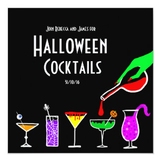 Convite de festas preto das bebidas dos cocktail
