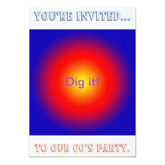Convite de festas psicadélico dos anos 60