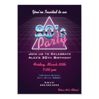 Convite de festas retro do anos 80