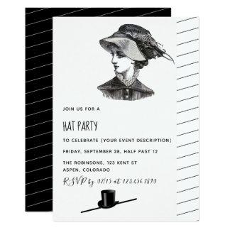 Convite de festas retro do chapéu do vintage