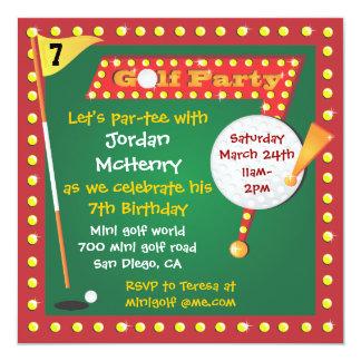 Convite de festas retro do mini golfe