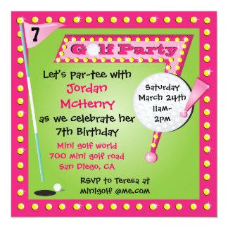 Convite de festas retro feminino do mini golfe