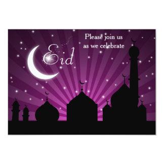 Convite de festas roxo da noite da silhueta da