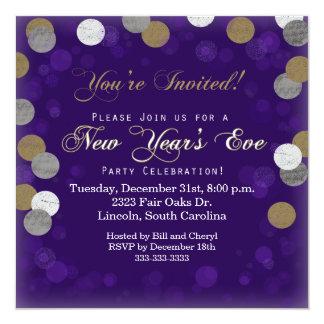Convite de festas roxo da véspera de Ano Novo