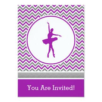 Convite de festas roxo do dançarino de Chevron Convite 11.30 X 15.87cm