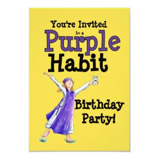 Convite de festas roxo do hábito
