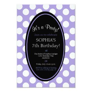 Convite de festas roxo personalizado das bolinhas