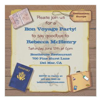 Convite de festas rústico do bon voyage do vintage
