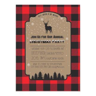 Convite de festas rústico dos cervos do inverno do