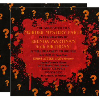 Convite de festas sangrento do mistério de