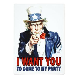 Convite de festas: Tio Sam do vintage