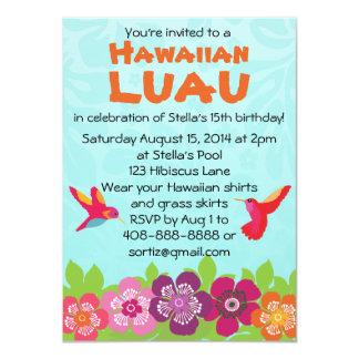 Convite de festas tropical de Luau da flor