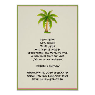 Convite de festas tropical de Luau da palmeira
