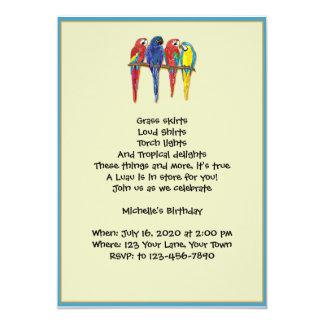 Convite de festas tropical de Luau dos papagaios