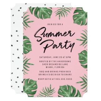 Convite de festas tropical do verão das folhas |