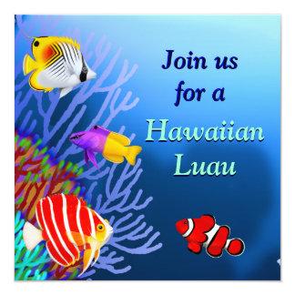 Convite de festas tropical dos peixes do recife de