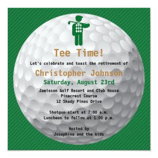 Convite de festas verde da aposentadoria do golfe