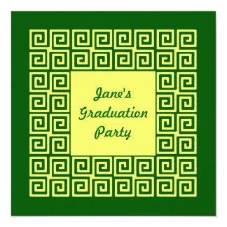 Convite de festas verde do teste padrão chave do