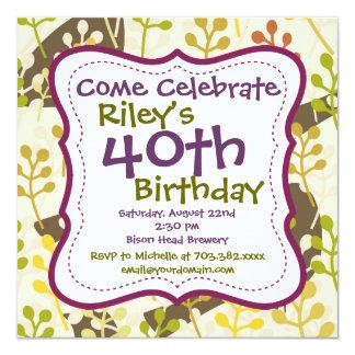 Convite de festas verde roxo do aniversário de 40