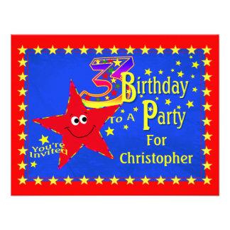Convite de festas vermelho do aniversário de 3 ano
