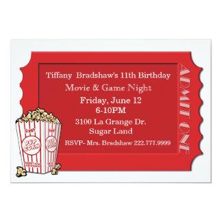 Convite de festas vermelho do bilhete do filme