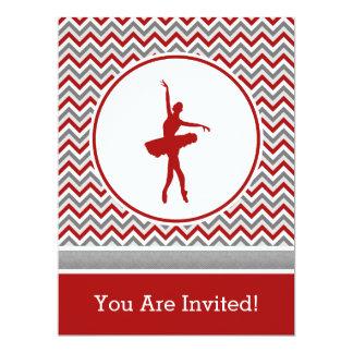 Convite de festas vermelho do dançarino de Chevron Convite 16.51 X 22.22cm