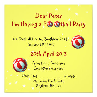 Convite de festas vermelho e branco do futebol
