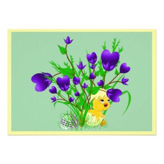 Convite de florescência do pintinho da páscoa dos