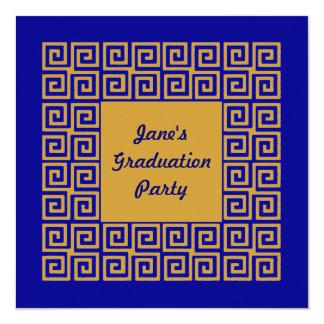 Convite de GradParty do teste padrão chave do azul