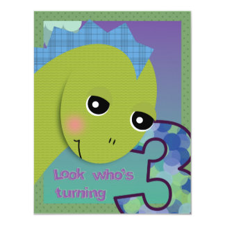 Convite de Lil Dino - aniversário de 3 anos Convite 10.79 X 13.97cm