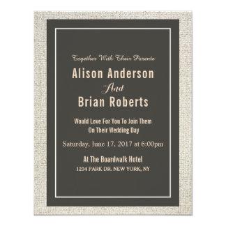 Convite de linho simples do casamento