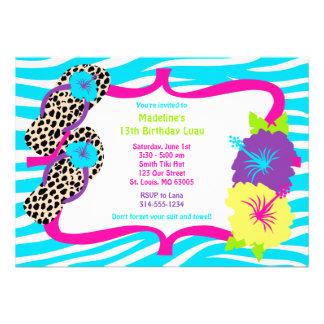 Convite de Luau da festa de aniversário