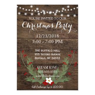 Convite de madeira da festa de Natal do país