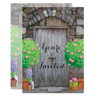 Convite de madeira da reunião de família da porta