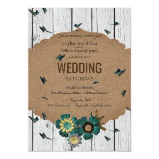 Convite de madeira do casamento da borboleta do