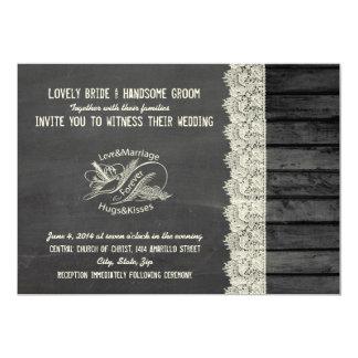 Convite de madeira do casamento da pomba da