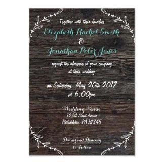 Convite de madeira do casamento do falso rústico