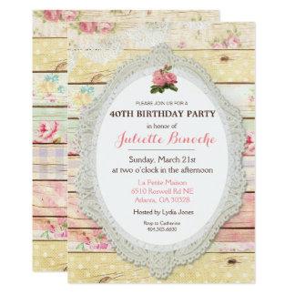 Convite de madeira floral do aniversário do chique