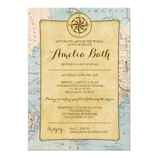 Convite de Mitzvah do bastão do mapa do viagem