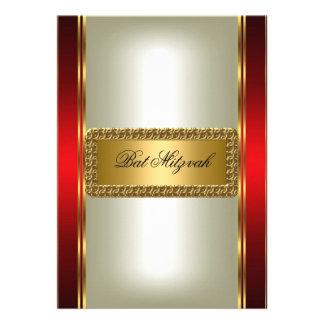 Convite de Mitzvah do ouro e do bastão vermelho