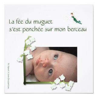 Convite de nascimento lírio-do-vale e de fada convite quadrado 13.35 x 13.35cm