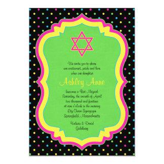 Convite de néon de Mitzvah do bastão das bolinhas
