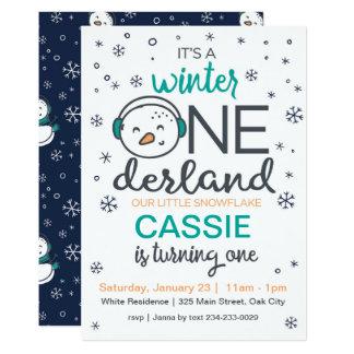 Convite de ONEderland do inverno do boneco de neve