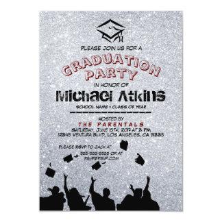 Convite de prata da festa de formatura do brilho
