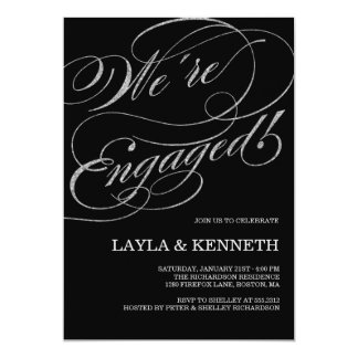 Convite de prata da festa de noivado do noivado |